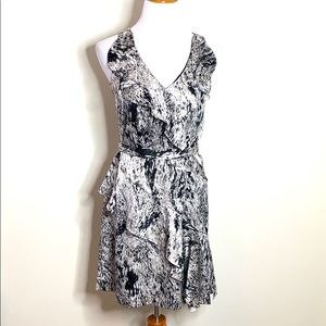 Vince Camuto Marbled Silky Ruffle Dress